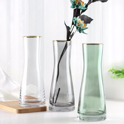 高档北欧描金细腰玻璃花瓶透明彩色富贵竹插花器无铅家居饰品装饰