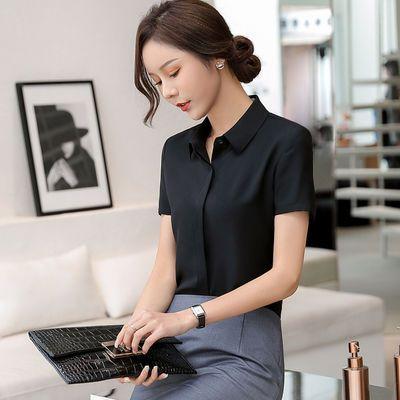 夏装新款雪纺短袖白衬衫女夏黑色职业装工装衬衣大码上衣工作服潮
