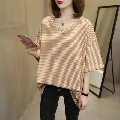 孕妇新款韩版大码条纹T恤短袖孕妇装女夏装上衣宽松洋气时尚240斤