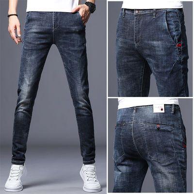 夏季薄款牛仔裤男青年男士弹力修身长裤青少年韩版小脚裤潮流男装