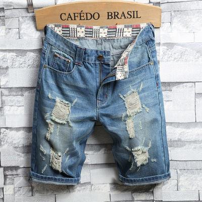 新款欧美男式牛仔短裤破洞修身浅蓝色乞丐男士中裤爆款