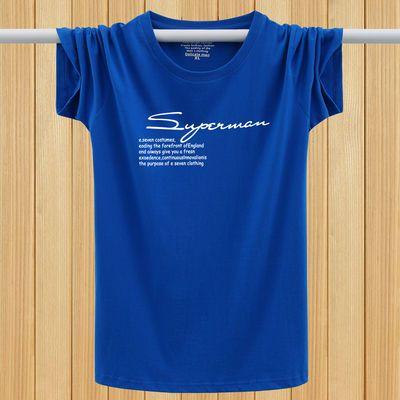 夏季纯棉短袖T恤男大码宽松圆领半袖加大加肥短T青年印花运动汗衫