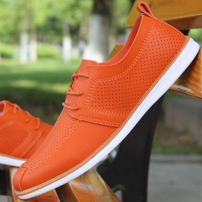 夏季透气男鞋男士休闲鞋镂空皮鞋韩版板鞋懒人鞋白色豆豆鞋男单鞋