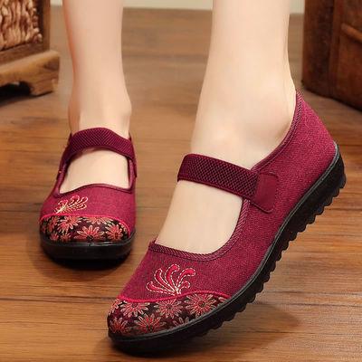 老年布鞋女休闲鞋秋季老年人鞋子软底闰月鞋红色60-70-80岁奶奶鞋