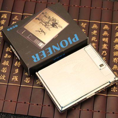 不锈钢20支装烟盒带防风打火机USB充电自动弹力烟夹超薄烟壳创