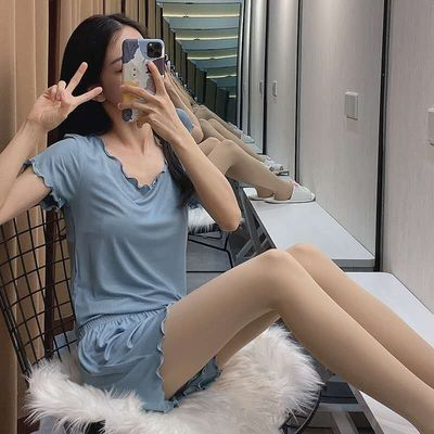 冰丝睡衣女夏季薄款短袖短裤两件套 木耳边家居服可出门休闲套装