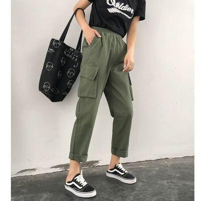 夏季ins工装裤男女学生韩版宽松bf风hiphop束脚嘻哈直筒九分裤子