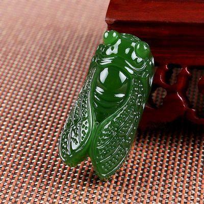新疆和田碧色金蝉吊坠 男女款一鸣惊人知了挂件 新坑玉石平安扣