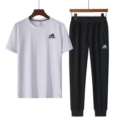 夏季套装男纯棉短袖t恤圆领宽松跑步服休闲短袖长裤大码运动套装