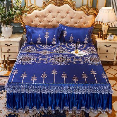 可机洗凉席三件套冰丝席可水洗空调席可折叠床裙款软席单人双人席