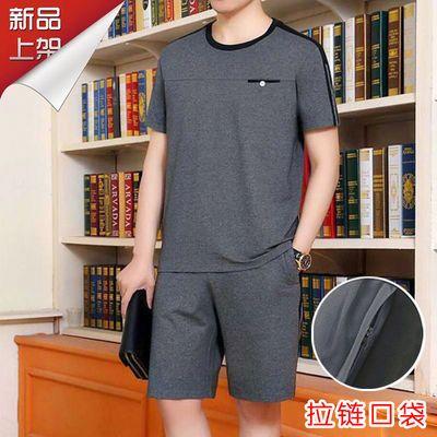 富贵鸟运动套装男士夏季短袖短裤宽松中年爸爸夏装大码休闲两件套