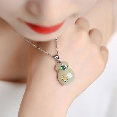 天然和田玉福袋吊坠小钱袋S925银项链送妈妈女友白玉礼物饰品挂件