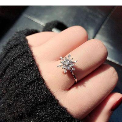 网红同款会转的雪花戒指可旋转转动戒指女时尚个性可调节食指指环