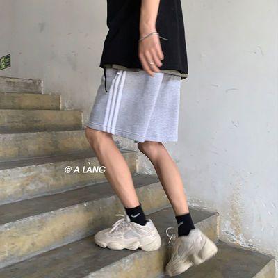 三杠条纹运动短裤男士韩版潮流ins宽松直筒五分裤夏季百搭休闲裤