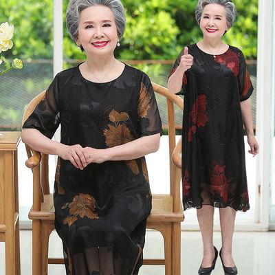 奶奶装连衣裙中老年人夏装女短袖妈妈雪纺裙子加肥加大码胖老太太