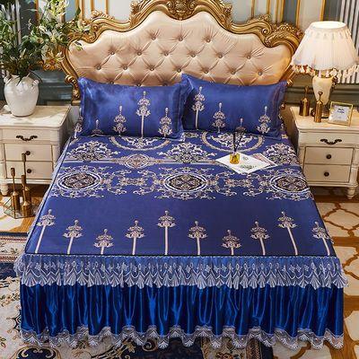 夏季凉席冰丝席三件套床群款蕾丝折叠2m1.5m0.9m床可水洗空调席子