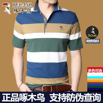 啄木鸟男士短袖T恤2020夏季新款翻领POLO衫纯棉条纹休闲男装上衣