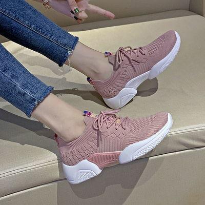 袜子鞋2019夏季系带网面飞针织女鞋平底透气女单鞋休闲运动鞋网鞋