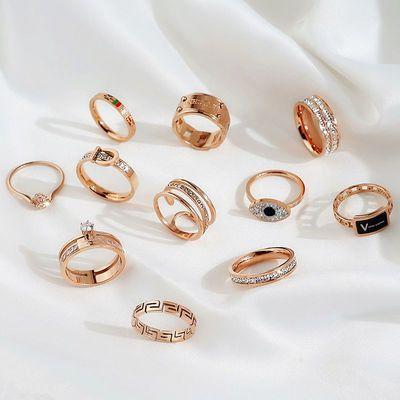 玫瑰金戒指女不掉色钛钢戒指韩版潮人网红指环个性情侣戒指