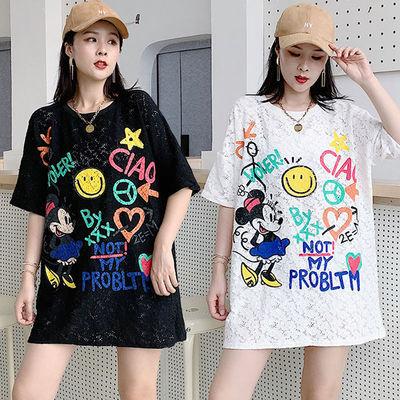 米奇卡通涂鸦印花蕾丝镂空五分袖T恤夏季宽松大版中长款上衣女BF