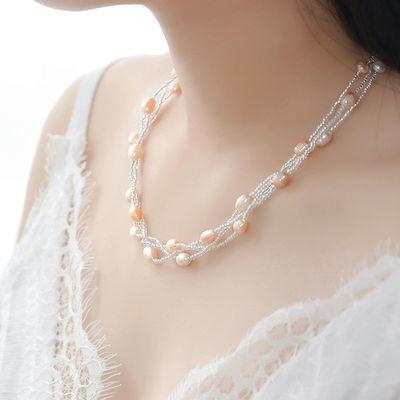 天然淡水珍珠项链手链首饰套装6-7mm送妈妈女友生日礼物日韩清新