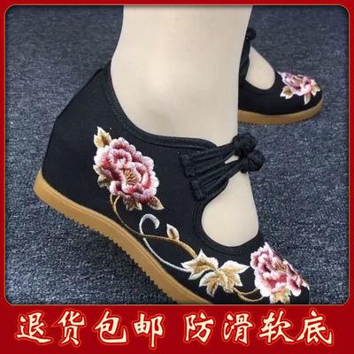 春季新款老北京牛筋底布鞋休闲旅游鞋民族风绣花鞋坡跟舞蹈鞋浅口
