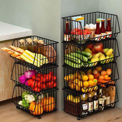 加厚加粗厨房置物架架子收纳多功能落地水果蔬菜架家用放菜篮子