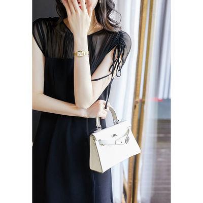 日系轻奢雪纺连衣裙女2020夏新款圆领网纱抽绳短袖气质优雅小黑裙