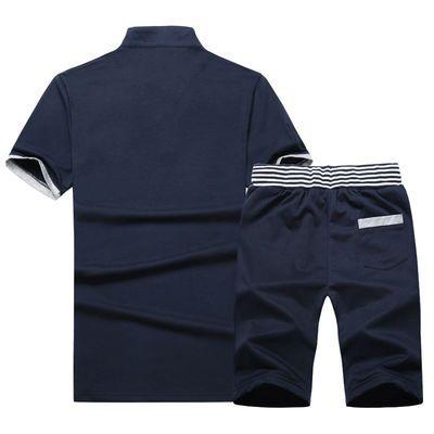 加肥加大男装套装夏季立领短袖短裤衣服男学生休闲运动服夏装一套