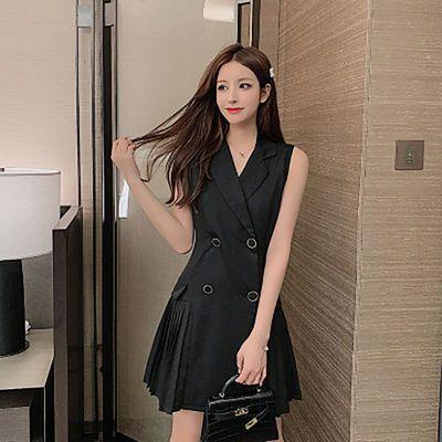 黑色/白色2020新款夏装吃刺激战场吃鸡服装双排扣马甲连衣裙女装