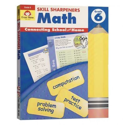 Evan-Moor  Math Grade 6 技能铅笔刀 数学练习册 六年级