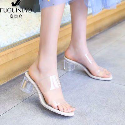 富贵鸟一字带透明高跟凉鞋女仙女风2020夏季水晶鞋粗跟外穿凉拖鞋