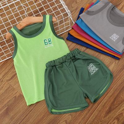 儿童背心套装夏季新款中小男女童运动休闲两件套宝宝无袖短裤夏装