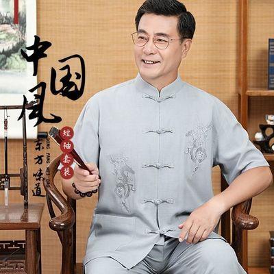 夏季新款中老年人唐装男亚麻中国风爸爸短袖套装棉麻刺绣居士汉服