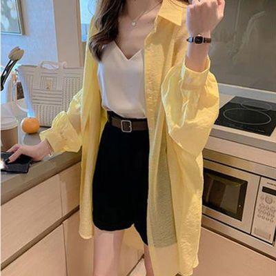 大码防晒衣女夏季新款长袖中长款开衫宽松衬衣披肩外搭薄外套女潮