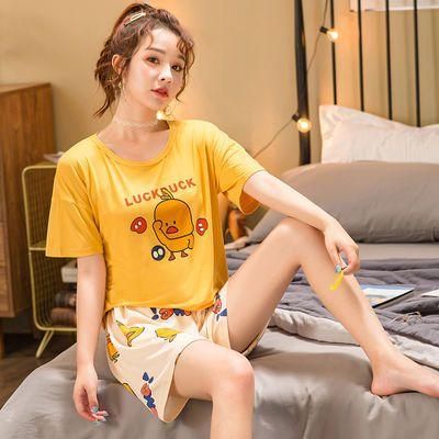 32719/睡衣女夏短袖短裤可爱甜美大码可外穿薄款春秋休闲家居服两件套装