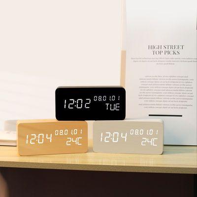 复古木质闹钟创意静音学生LED夜光电子钟时尚木头钟客厅床头座钟