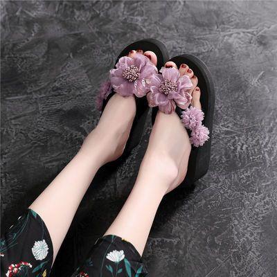 夏季新款人字拖鞋女外穿厚底百搭花朵沙滩鞋海边防滑坡跟凉拖鞋女