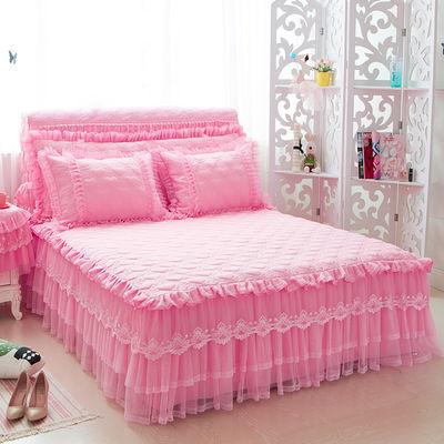 韩版纯色公主风蕾花边加厚夹棉单件床裙式床罩床垫防滑保护套枕套
