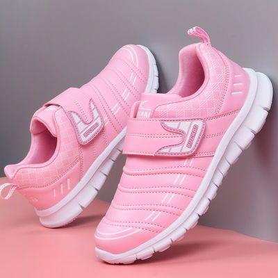 酷超儿童鞋2020春秋季新款女童防水皮面小学生毛毛虫跑步运动鞋子
