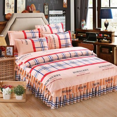床裙四件套冬加厚磨毛床罩被子被套像纯棉全棉双人婚庆床上用品