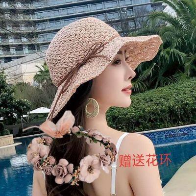 遮阳帽女士夏季防晒帽草帽夏天沙滩太阳帽子防紫外线遮脸凉帽大沿
