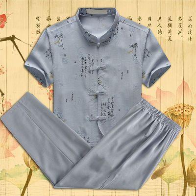 夏季唐装短袖套装中老年人男装爷爷爸爸60岁80汉服中国风复古衬衣