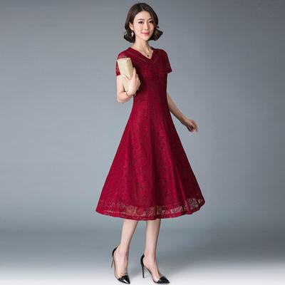 婚礼妈妈装夏季蕾丝连衣裙喜婆婆婚宴装端庄高贵年轻岳母结婚礼服