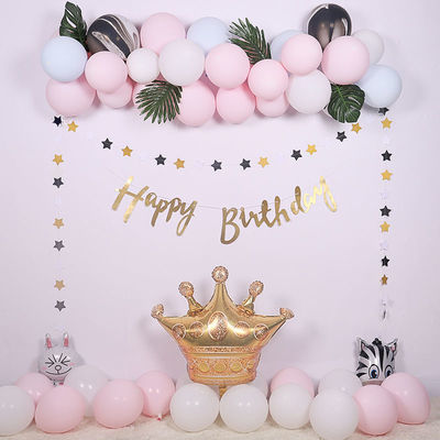 新款马卡龙铝膜气球套装 皇冠生日派对装饰用品 气球链套装批发
