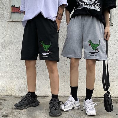 夏季韩版休闲短裤复古潮流刺绣五分裤bf宽松百搭男女学生运动裤子