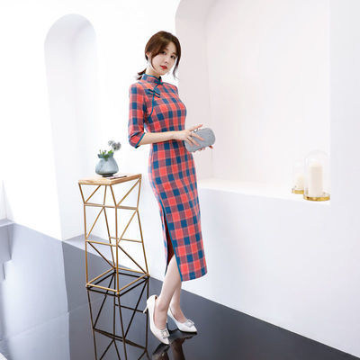 改良格子旗袍中长款女2019新款中袖修身复古文艺少女七分连衣裙棉