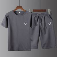 冰丝运动T恤休闲夏季跑步健身宽松速干男士五分裤短袖体恤男套装