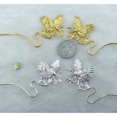 博烨-DIY饰品配件 发簪头饰材料 焊接成对鹤簪蛇形合金发簪