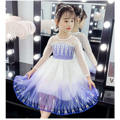 女童春装新款冰雪奇缘2艾莎公主裙爱沙连衣裙洋气蓬蓬纱夏款裙子